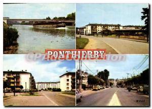 Moderne Karte Ponthierry (Seine et Marne) Le Pont Le Marche Cite du Moulin Clair L Nationale 7