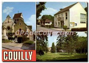 Moderne Karte Couilly (Seine et Marne) L'Eglise La Mairie et la Poste le Square