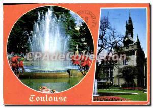Moderne Karte Toulouse ville d'arb le jet d'eau du grand Rond le jardin et le donjon du Canitole