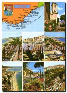 Moderne Karte La Cote d'Azur Cannes Alpes Maritimes le Suquet la Croisette la plage et le Suquet Pecheur repa