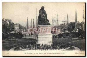 Ansichtskarte AK Le Havre La Statue de Bernardin de Saint Pierre Bateaux