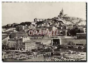 Moderne Karte Marseille Bassin du Carenage au fond Notre Dame de la Garde