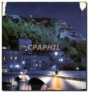Moderne Karte Grenoble la nuit Illumination du Pont Marius Gontard et de la Bastille
