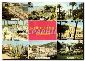 Moderne Karte La Cote d'Azur inoubliable St Raphael Nice Beaulieu Cannes Monaco Antibes Villefranche sur Mer M