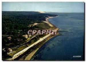 Moderne Karte Arcachon Gironde Plage Pereire au loin la Dune du Pyla