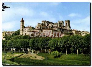 Moderne Karte Auch Gers la Basilique Ste Marie et la Tour d'Armagnac vue prise des bords du Gers