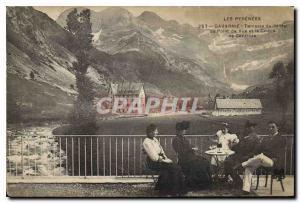 Ansichtskarte AK Les Pyrenees Gavarnie Terrasse de l'Hotel du Point de Vue et le Cirque de Gavarnie