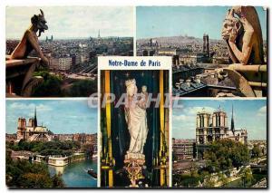 Moderne Karte Paris Le Diable Le Penseur Notre Dame et la Seine Statue de Notre Dame Notre Dame et la Seine