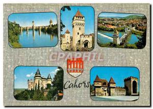 Moderne Karte Cahors Lot Le Pont Valentre Chateau de Mercues La Barbacane et la Tour des Pendus