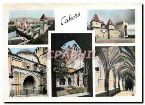 Moderne Karte Cahors Lot La Cathedrale vue du Cloitre le pont Valentre la barbacane la Tour des pendus la Cath