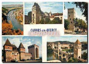 Moderne Karte Cahors Lot Le Pont Valentre La cathedrale Saint Etienne La Tour de Jean XXII La Barbacane Le Pon