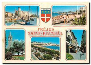 Moderne Karte La Cote d'Azur Frejus et Saint Raphael Var St Raphael Le Port et Eglise Les Plages et l'Eglise a