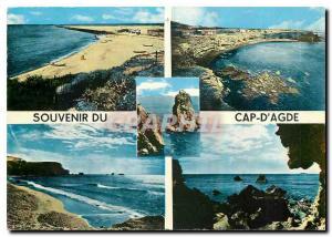 Moderne Karte Le Cap d'Agde Herault La Plage La Jetee Richelieu L'Ile du Fort Brescou Le Cap au Couchant Le Ro