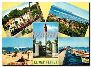 Moderne Karte Bassin d'Arcachon le Cap Ferret Gironde le Phare le Petit Train vue generale la Plage et la