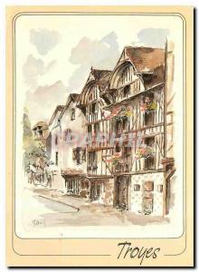 Moderne Karte Troyes Aube Rue Urbain IV Maisons a pans de bois et a damiers charnpenois
