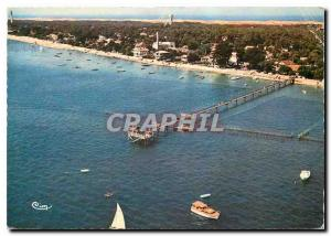 Moderne Karte Le Cap Ferret Gironde Vue generale aerienne et l'Embarcadere