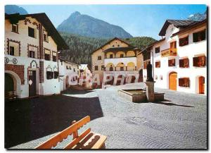 Moderne Karte Dorfplatz Scuol mit Museum