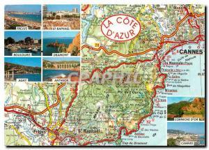 Moderne Karte La Cote d'Azur De Cannes Mougins a St Raphael Frejus