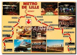 Moderne Karte Le Metro de Lille Nord Stations Rihour Caulier Fives Triolo Republique Gares CHR Oscar Lambret