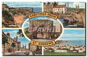 Moderne Karte Greetings from St Andrews The castle Kinkell Braes The harbour