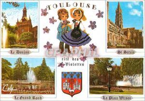 Moderne Karte Toulouse Le Donjon du Capitole Le Basilique St Sernin Le Jardin du Grand Rond La Place Wilson