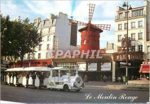 Moderne Karte Paris Le Moulin rouge et le petit train de Montmartre