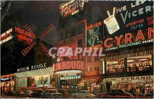 Moderne Karte PARIS Montmartre la nuit - Le Moulin Rouge Cyrano Tabac