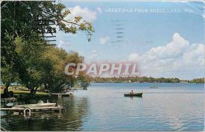 Moderne Karte Greetings from Shell Lake Wis