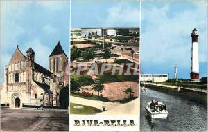 Moderne Karte Riva Bella Calvados L'Eglise Le Casino vu du Square Phare