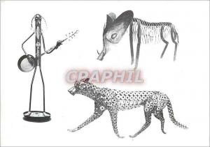 Moderne Karte Ferro Sculptures de Maurice Louis Lapouge La Croix du Rat Castels Guepard  Sanglier Musicien