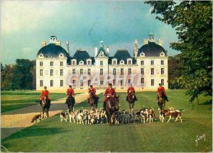 Moderne Karte Chateau de Cheverny Loir et Cher Chasse Chiens Chevaux
