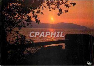 Moderne Karte Images de Chez nous coucher de soleil au Lac du Bourget (Savoie)