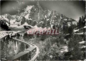 Moderne Karte Chamonix Mont Blanc (Hte Savoie) La Mer de Glace (alt 1913m) le Dru et L'Hotel Train