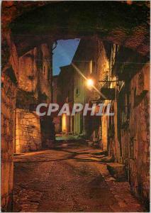 Moderne Karte Reflets de la Cote d'Azur Saint Paul (A Mmes) La Grand Rue la nuit