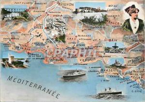 Moderne Karte Mediterranee Folklore Marseille Avignon Arles Aix