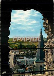 Moderne Karte En Touraine Montrichard (Loir et Cher) Perspective prise du Donjon sur le cher et le pont au pr