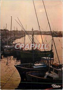 Moderne Karte Les Sable d'Olonne Vendee Perle de la Cote de Lumiere Coucher de soleil sur le port vers la Chau