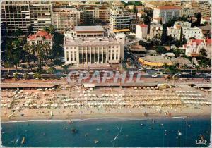 Moderne Karte Cannes AM Vue aerienne sur la plage de la Croisette et le Palais des Festivals