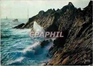 Moderne Karte La Bretagne Tempete d'Equinoxe sur la Pointe du Raz et le phare de la Vieille Sud Finistere