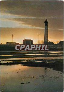 Moderne Karte Ouistreham Riva Bella Calvados Contre jour sur le phare