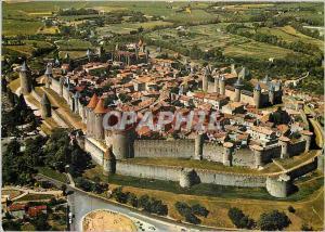 Moderne Karte La Cite de Carcassonne Aude Vue generale par avion de la cite medievale
