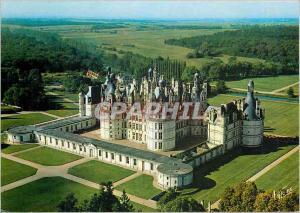 Moderne Karte Chambord Loir et Cher Vue aerienne du Chateau La facade sur et la porte royale