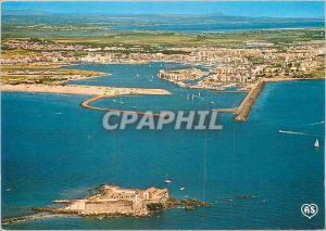 Moderne Karte Agde et ses Plages Herault Le Cap d'Agde Le Fort Brescou et l'entree du Port Vue aerienne