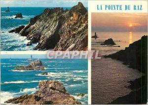 Moderne Karte La Pointe du Raz La pointe par gros temps et coucher de soleil sur le Raz de Sein