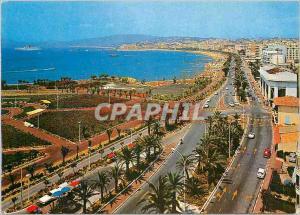 Moderne Karte Cannes La Croisette Vue generale vers le Suquet