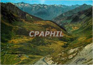 Moderne Karte Les Pyrenees Route du Col du Tourmalet descente sur Bareges et Luz au fond les Sommets de l'Aedi