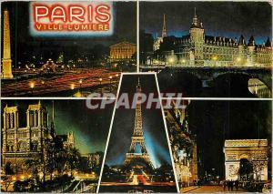 Moderne Karte Paris la niut Place de la Concorde la Conciergerie la cathedrale N D de Paris La Tour Eiffel l'A