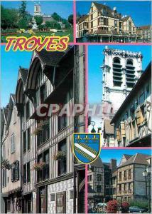Moderne Karte Troyes Aube La Cathedrale les maisons a pans de bois et l'Eglise Ste Madeleine