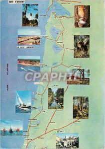Moderne Karte La Cote d'Argent La cote Landaise Cap Ferret Dax