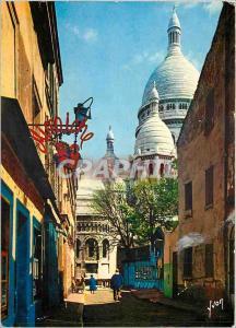 Moderne Karte Paris La Basilique du sacre Coeur vue de la rue du Chevalier de la Barre